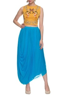 Mustard embroidered crop top with aqua draped skirt