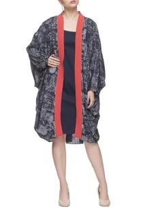 Navy blue printed kimono jacket