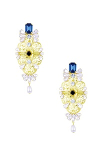 Gold & teal blue stone embellished neelam earrings