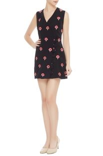 Black suiting fabric embroidered dress