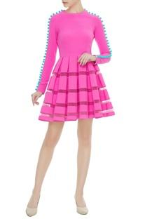 Bubble gum pink scuba pom pom dress