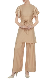 Beige twill fringes tunic with palazzos & belt