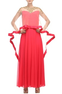 Coral red & light beige dress with cape