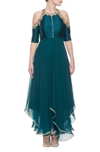 Bottle green cold shoulder kurta with churidar