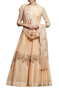 Peach chanderi & satin silk hand embroidered gown with hand embroidered dupatta