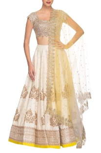 Off white & beige floral embroidered lehenga set