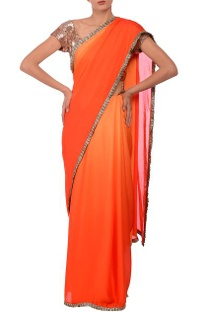 Orange shaded  & silver frill embroidered sari