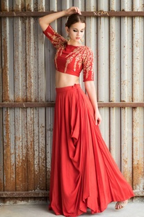 Red embroidered cowl lehenga set