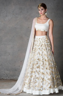 Off-white & gold embellished lehenga set