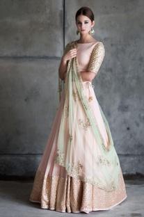 Blush pink & gold embellished lehenga set