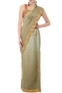Pale olive & gold linen sari