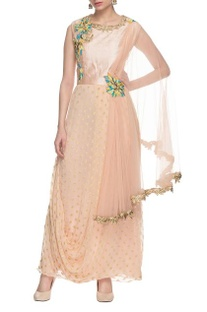 Peach drape dress with floral work