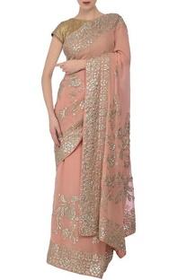 Peach sequin embroidered sari