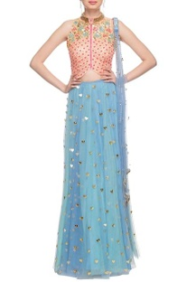 Peach & sky blue embellished cut-out detail lehenga set