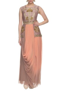 Peach & taupe shaded dress with attached jacket