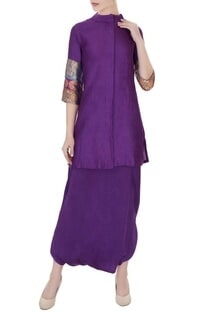Violet moonga silk kurta with pure satin silk dhoti