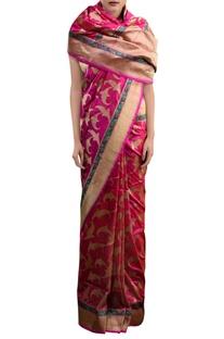 Pink sari with leaf pattern zari work
