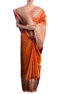 Orange sari with multi colored border