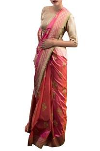 Pink & orange sari with floral motifs