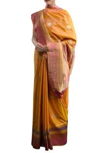Orange sari with pink border & zari work