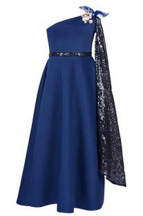 Navy blue sequin party gown
