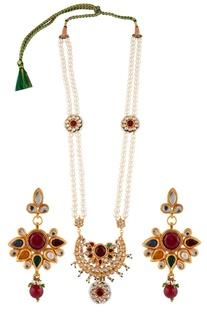 Navrattan kundan necklace with earrings