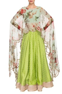 Powder blue printed cape with parrot green embroidered lehenga