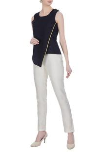 Linen overlap blouse