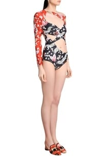 Cut out printed swimsuit