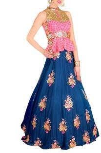 Raani floral embellished peplum jacket with blue lehenga