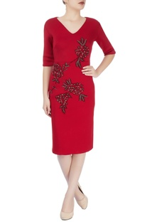 Red hand embroidered dress