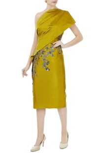 Sulphur yellow tafetta hand crafted colorful sequin, bead work & nakshi toga draped dress