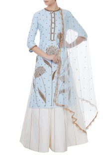 Ice blue & white chanderi, tafetta & net hand crafted nakshi & sequin kurta with palazzos & dupatta