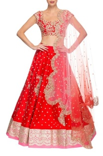 Red & rose pink floral embroidered lehenga set