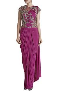 Fuschia zardosi embroidered sari gown
