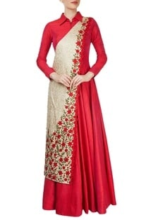Red floor length gown with drape effect