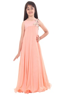 Peach chiffon embroidered flowy gown