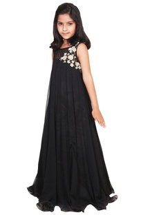 Black chiffon embroidered flowy gown