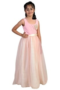 Soft pink stretch yoke embroidered flowy gown
