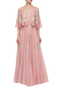 Light pink embroidered off-shouldered top skirt