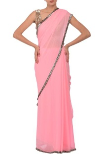 Rose pink & silver sequin embellished sari