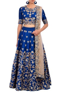 Royal blue floral embroidered lehenga set