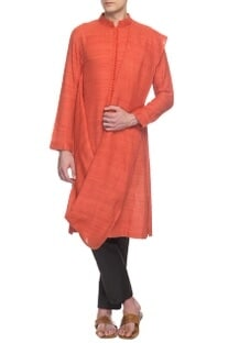 Rust handloom draped kurta set