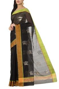 Black tree-nandi chanderi sari