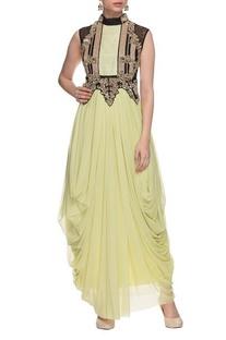 Sage green, black & gold embellished draped dress