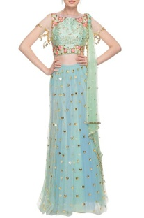 Sea green & blue floral embroidered lehenga set