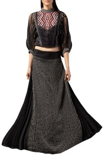Thread embroidered lehenga with balloon sleeves crop top