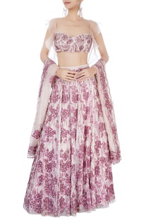 Pink hand painted lehenga set