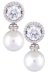 Silver handcrafted round cut swarovski zirconia & pearl earrings