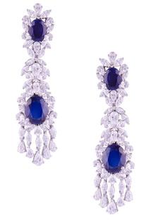 Long blue crystal earrings